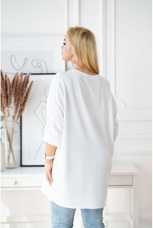 biała długa tunika z cyrkoniami