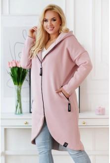 pudrowy płaszcz plus size
