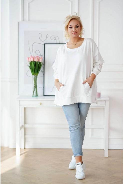 Kremowo-biała bluza plus size