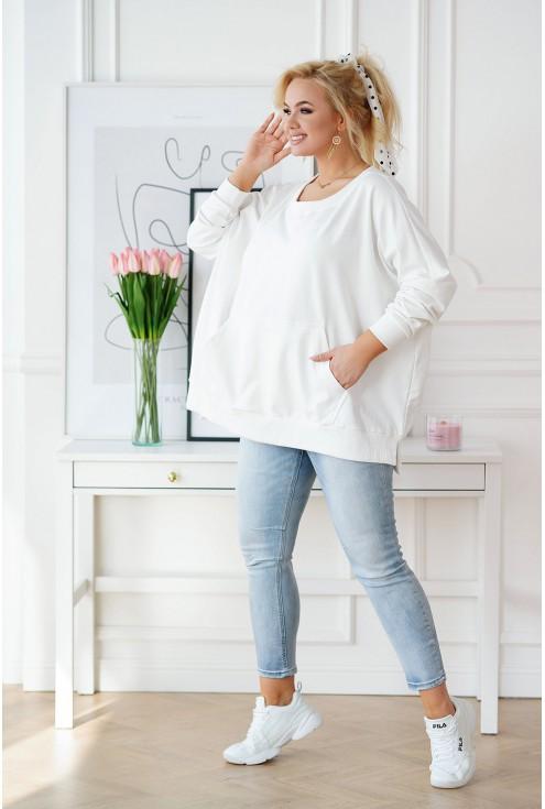 biała bluza oversize ze ściągaczami