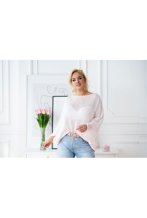 sweter XXL Camila w bardzo jasnym różu