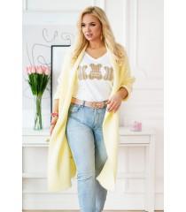 Długi ciepły żółty kardigan plus size - MELANY