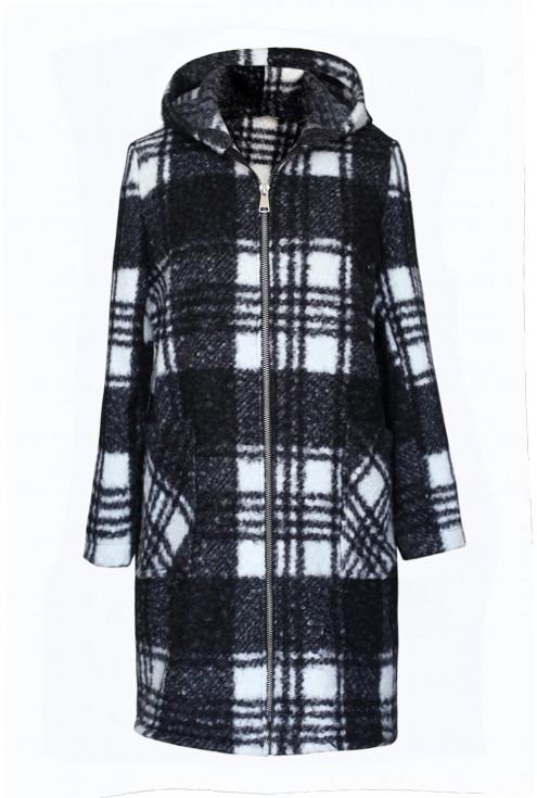 Biało-czarny płaszcz oversize w kratkę z kapturem - CLAUDIE
