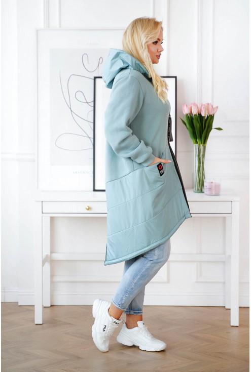 Seledynowa zapinana kurtka/bluza z kapturem - GWEN