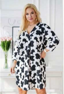 sukienka czarno-białe groszki xxl