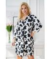 Sukienka plus size w biało-czarne kropki - CHIARA