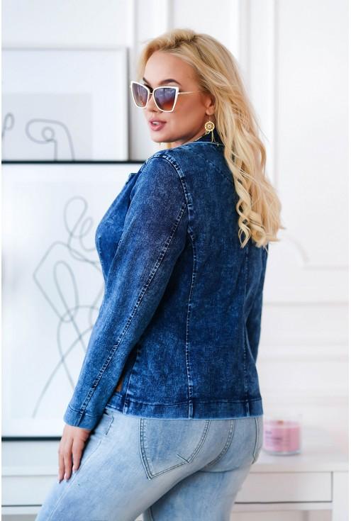 modny żakiet z imitacji jeansu XXL