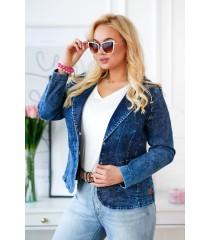 Granatowy żakiet plus size zapinany na guziki z imitacji jeansu - AGGIE