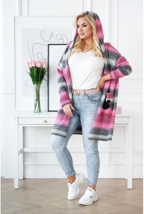 Różowo-grafitowy kardigan plus size
