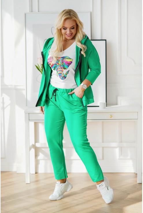 zielony dres plus size z rozpinaną bluzą COURTNEY