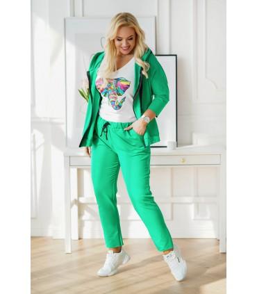 Zielony dres plus size z rozpinaną bluzą - zestaw - COURTNEY