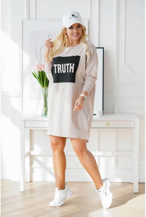 Beżowa sukienka oversize Calvi