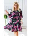 Czarna rozkloszowana sukienka plus size w kwiaty z wiązaniem na dekolcie - SANDRIE