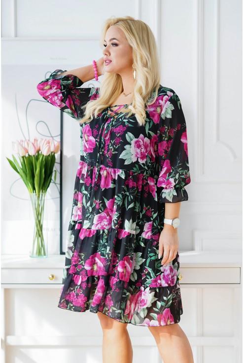 rozkloszowana sukienka xxl w kwiatowy wzór