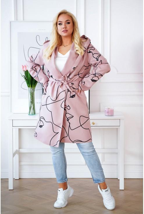 wiązany płaszcz w kolorze pudrowym