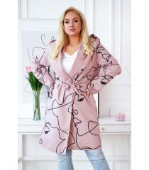 Pudrowy płaszcz z czarnym wzorem - NICOLET