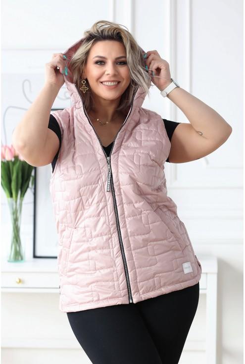 pikowana kamizelka plus size w modnym pudrowym kolorze - do kupienia w dużych rozmiarach