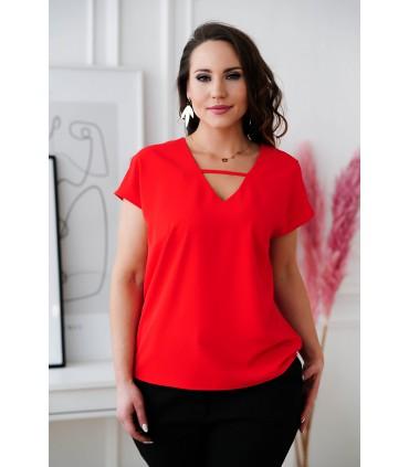 Czerwona bluzka z dekoltem V i paseczkiem - FELIPA