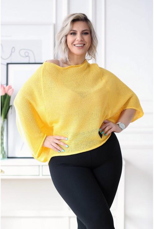 Miodowy sweterek z obniżoną linią ramion - Camila