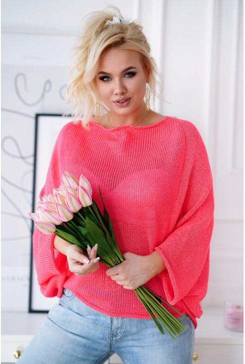 Różowy neon sweterek plus size z obniżoną linią ramion - Camila