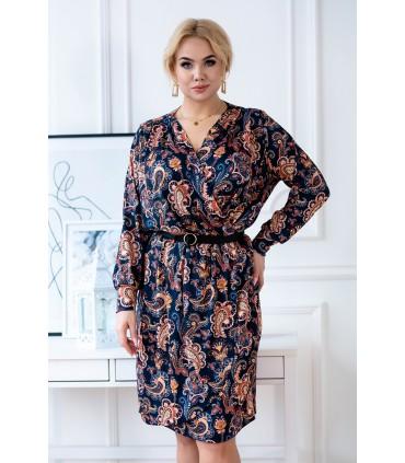 Granatowa ołówkowa sukienka z długimi rękawami w orientalny wzór - CILIA