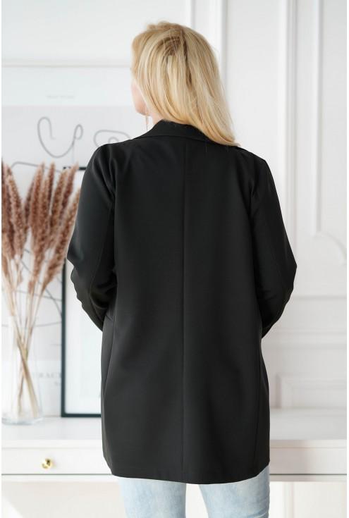 Czarny żakiet plus size ze złotymi guzikami - EFFY