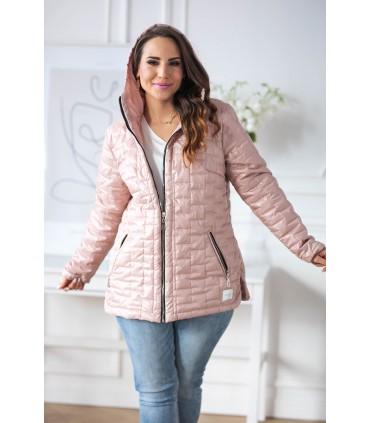 Pudrowy róż pikowana kurtka z kapturem - BRIDGET