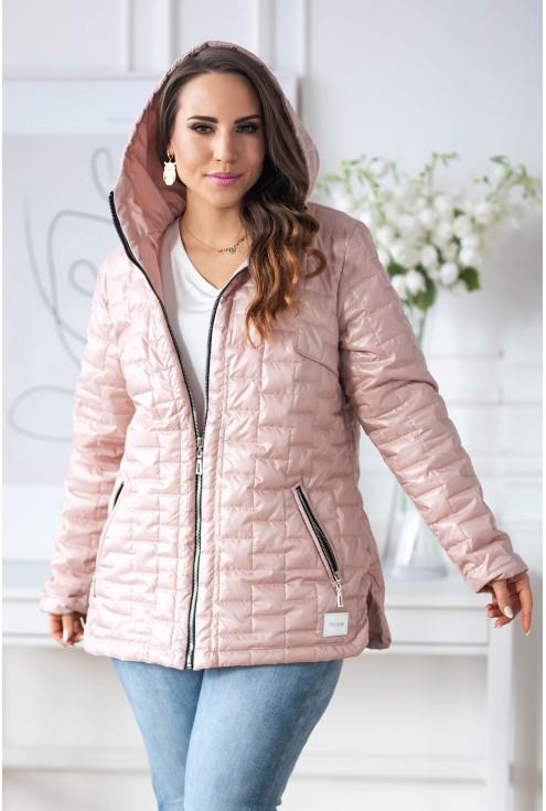 różowa pikowana kurtka z kapturem plus size