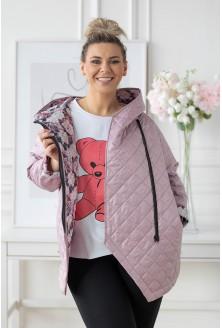 pudrowa pikowana kurtka wiosenna z podszewką w kwiaty