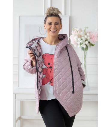 Pudrowa pikowana kurtka z kapturem - SISSY