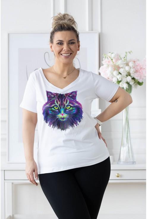 biały t-shirt sasha z kotem plus size