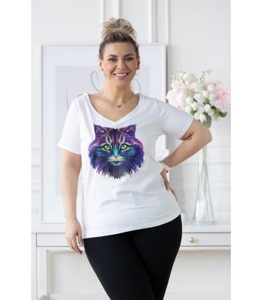 Biały t-shirt z krótkim rękawem - wzór kot - SASHA