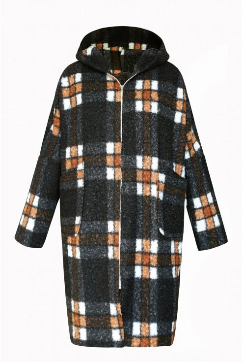 płaszcz w brązowo czarną kratkę xxl