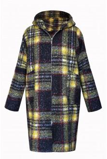 płaszcz zapinany w żółto czarną kratkę xxl
