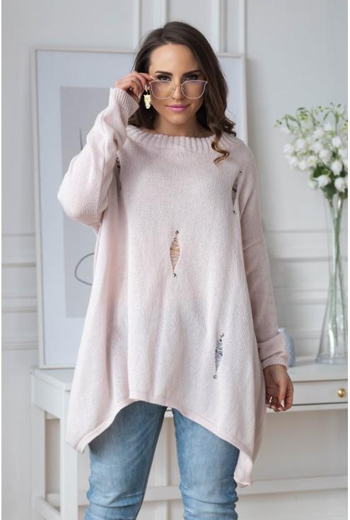 luźny pudrowy sweter plus size