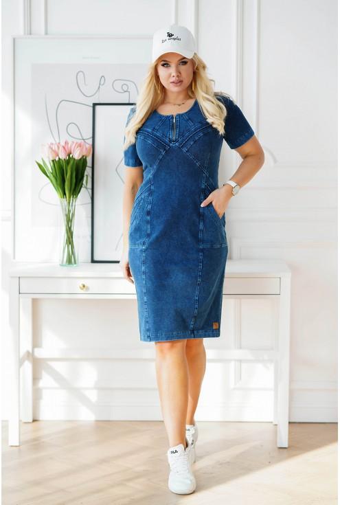 granatowa sukienka ołówkowa xxl - imitacja jeansu