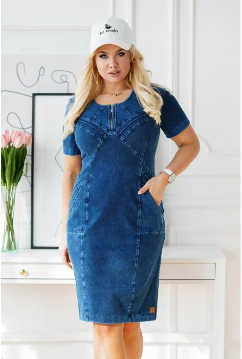 modna ołówkowa sukienka XXL z ozdobnym suwakiem na dekolcie