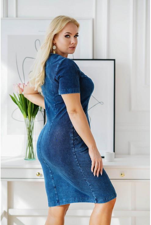 granatowa ołówkowa sukienka plus size