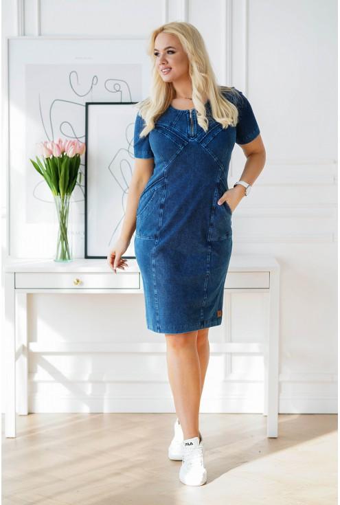 stylowa sukienka plus size z materiału imitującego jeans