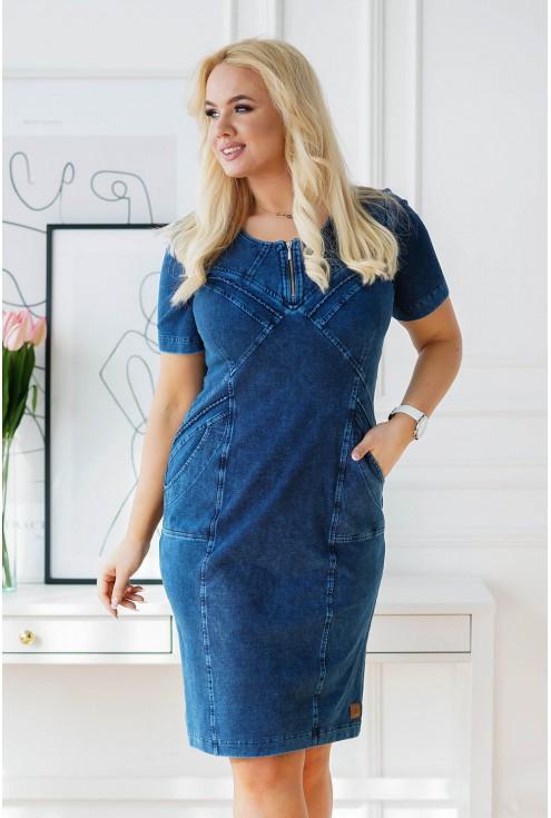 granatowa ołówkowa sukienka plus size z suwakiem na dekolcie - xlka