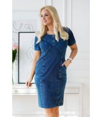 Granatowa ołówkowa sukienka plus size z suwakiem na dekolcie imitacja jeansu - AUSTIN