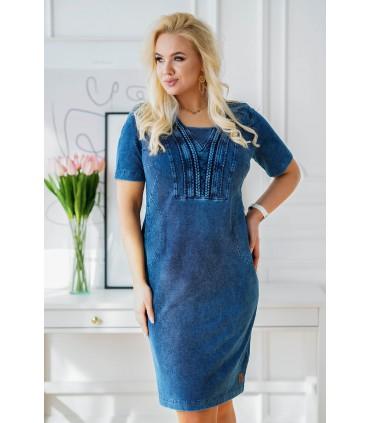 Granatowa ołówkowa sukienka plus size z warkoczami przy dekolcie imitacja jeansu - AUSTIN