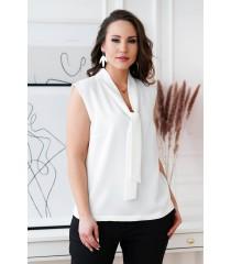 Biała szyfonowa bluzka z wiązaniem na dekolcie - DEBBIE