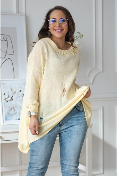Cytrynowy sweterek z przetarciami
