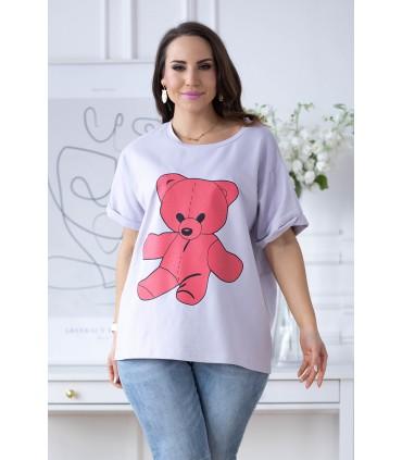 Liliowa bluzka z różowym misiem - ISLEN