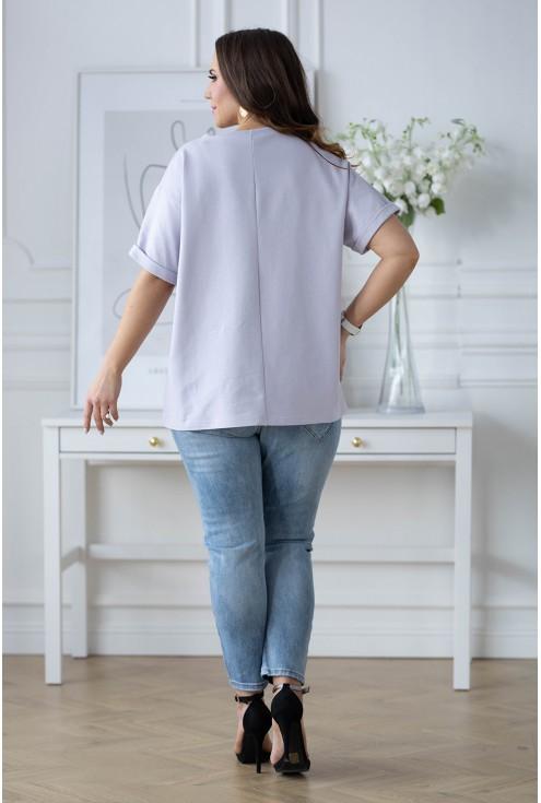 liliowa bluzka w różowym misiem