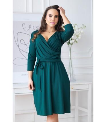 Butelkowa sukienka z kopertowym dekoltem - LUCINNE