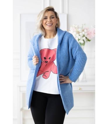 Niebieski kardigan plus size z kapturem - Maily