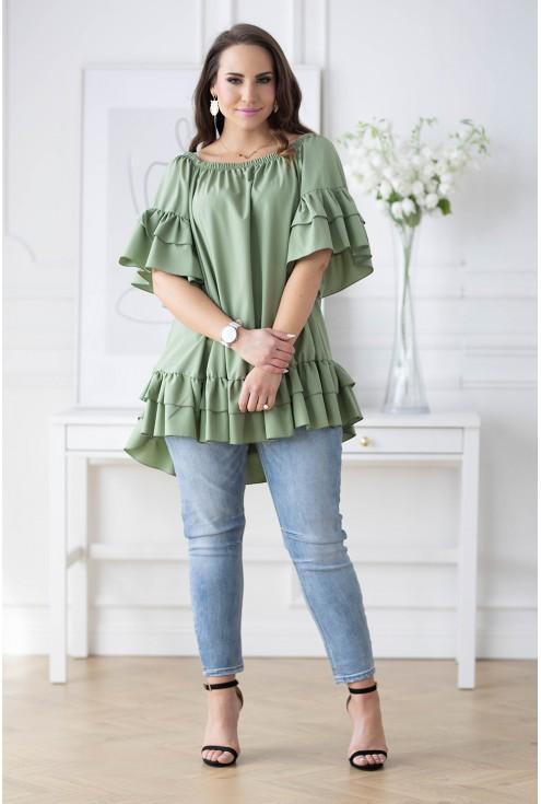 tunika plus size kolor oliwkowy