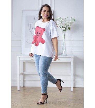 Biała bluzka-bluza z różowym misiem - ISLEN